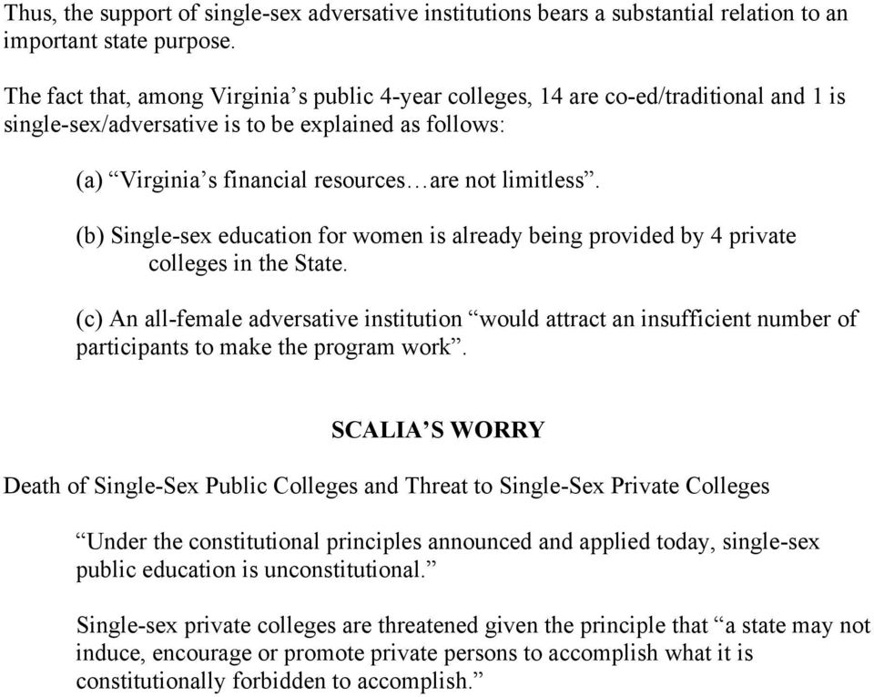 (b) Single-sex education for women is already being provided by 4 private colleges in the State.