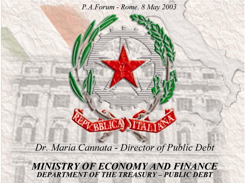 Debt MINISTRY OF ECONOMY AND