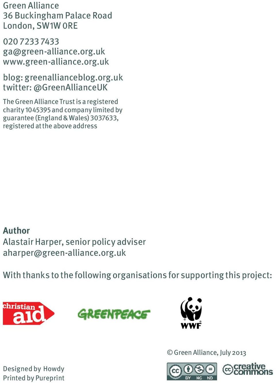 Wales) 3037633, registered at the above address Author Alastair Harper, senior policy adviser aharper@green-alliance.org.