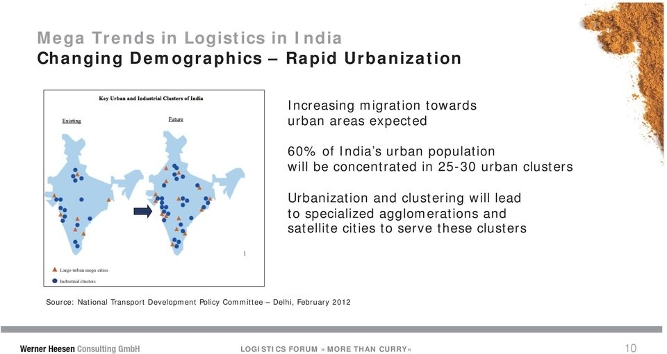 clustering will lead to specialized agglomerations and satellite cities to serve these clusters Source: National