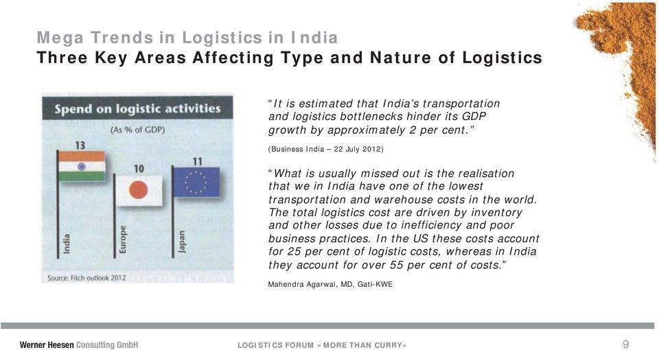 (Business India 22 July 2012) What is usually missed out is the realisation that we in India have one of the lowest transportation and warehouse costs in the world.