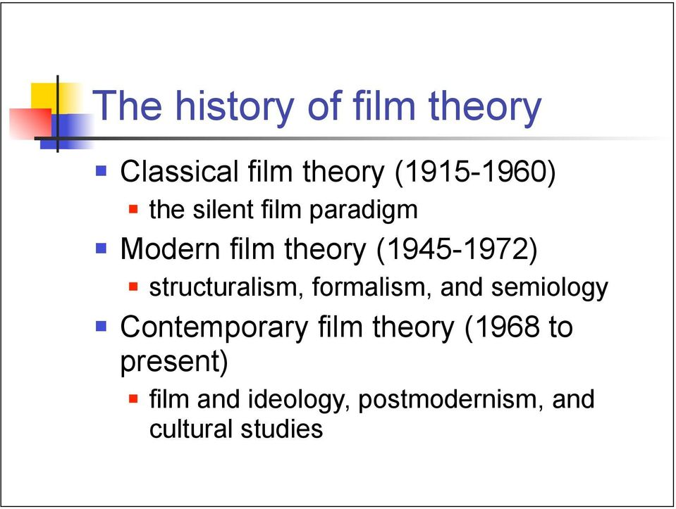 structuralism, formalism, and semiology Contemporary film