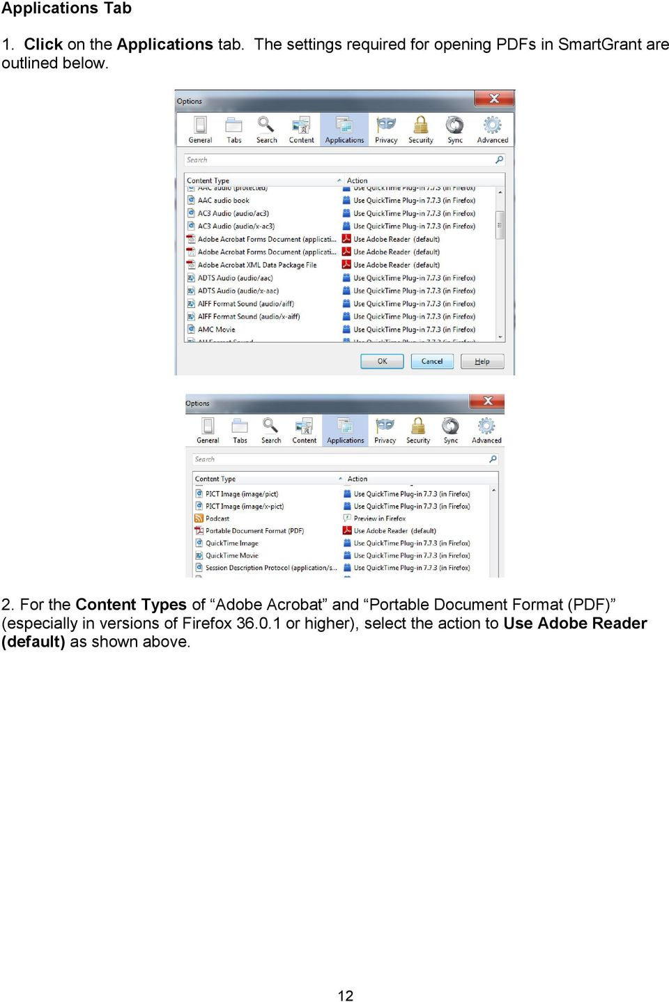 For the Content Types of Adobe Acrobat and Portable Document Format (PDF)