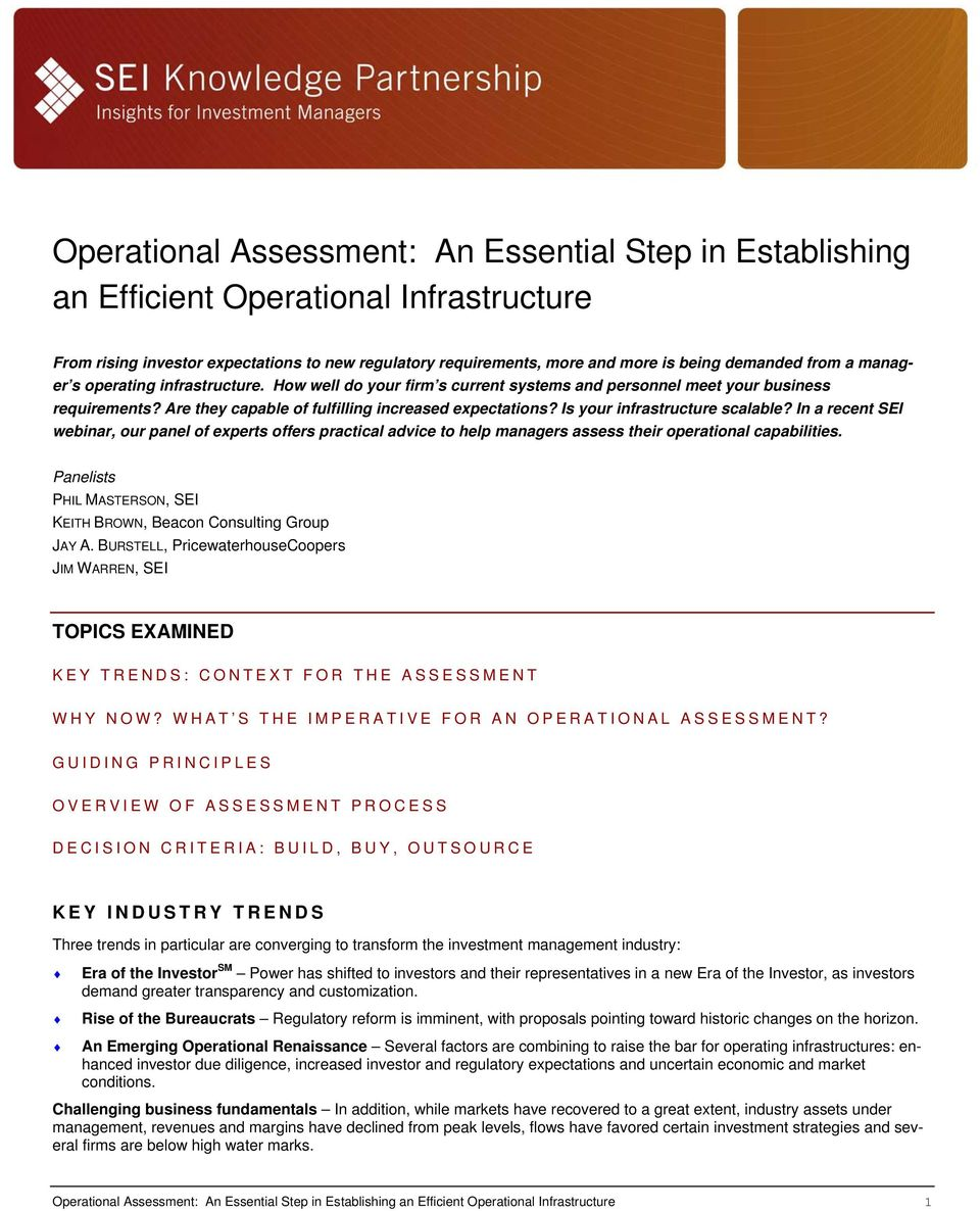Is your infrastructure scalable? In a recent SEI webinar, our panel of experts offers practical advice to help managers assess their operational capabilities.