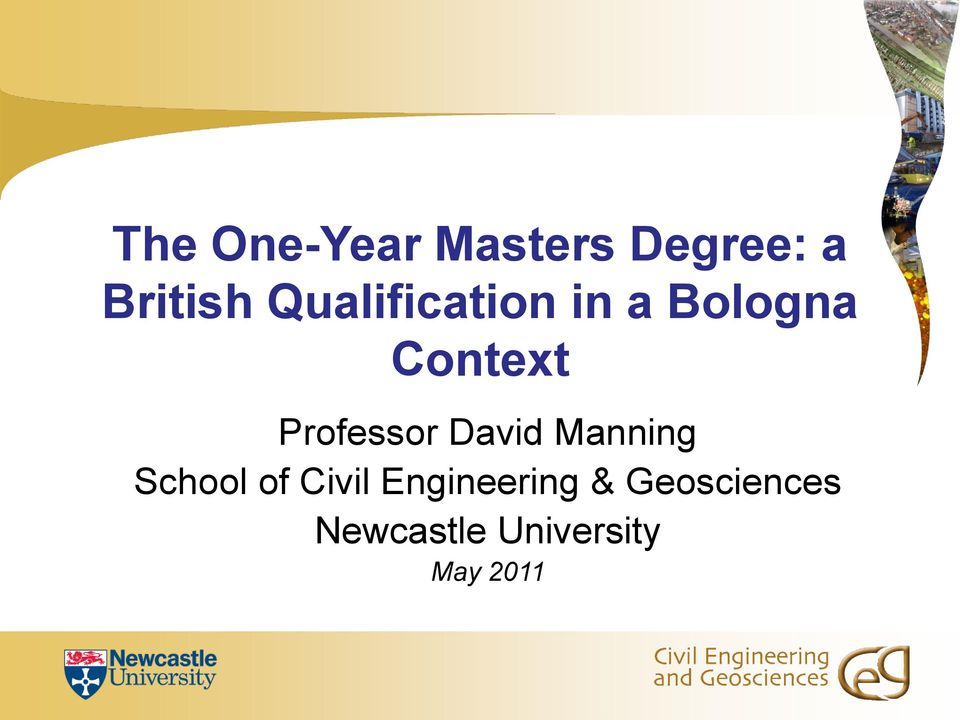 Professor David Manning School of Civil