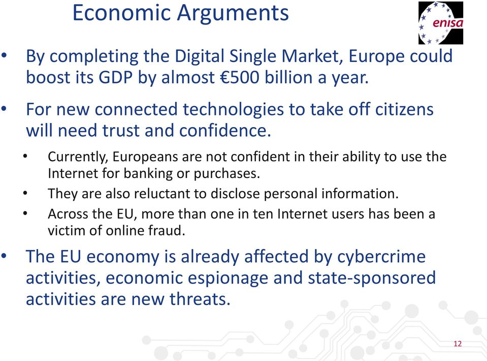 Currently, Europeans are not confident in their ability to use the Internet for banking or purchases.