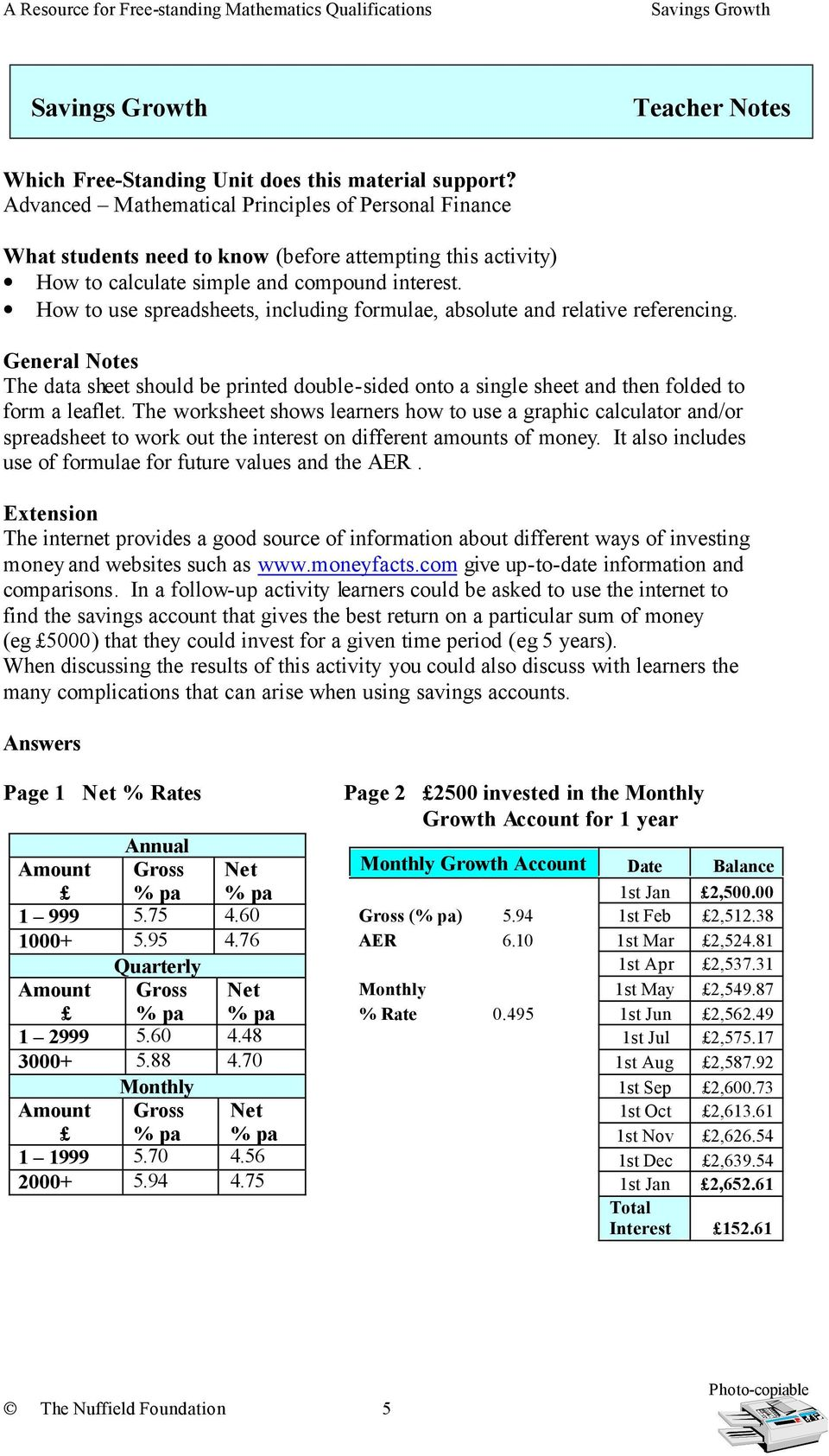 How to use spreadsheets, including formulae, absolute and relative referencing. General Notes The data sheet should be printed double-sided onto a single sheet and then folded to form a leaflet.