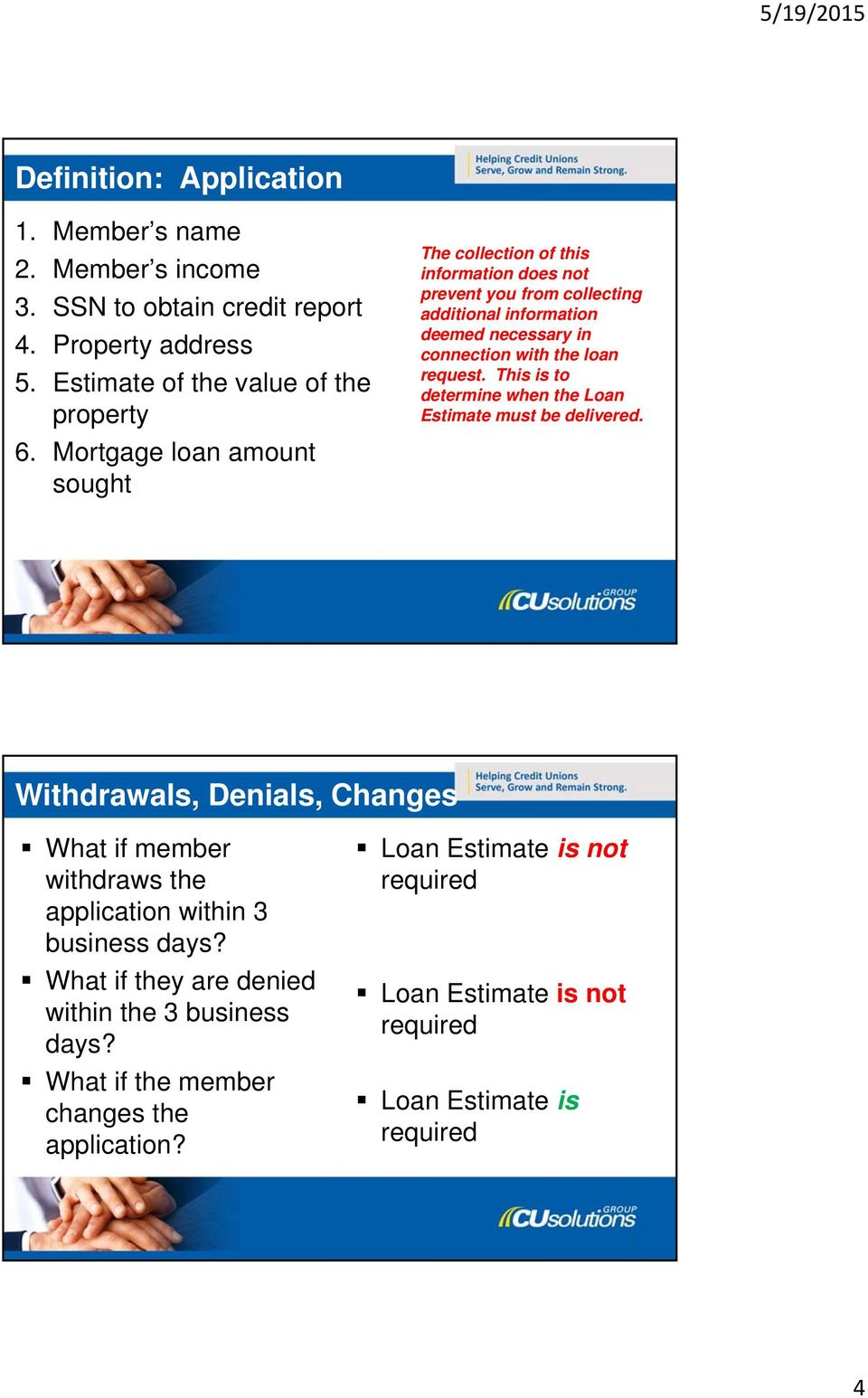 request. This is to determine when the Loan Estimate must be delivered. 7 Withdrawals, Denials, Changes What if member withdraws the application within 3 business days?