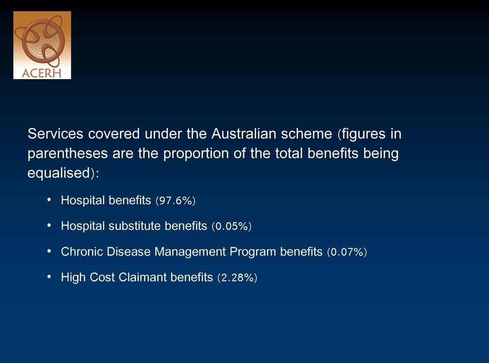 benefits (97.6%) Hospital substitute benefits (0.