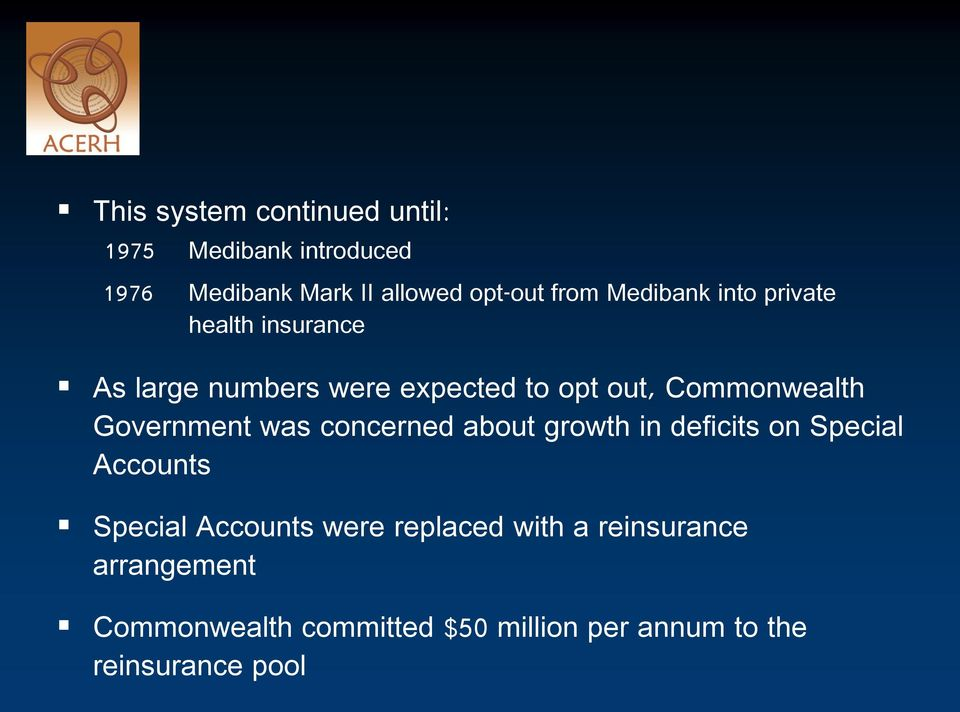 Government was concerned about growth in deficits on Special Accounts Special Accounts were