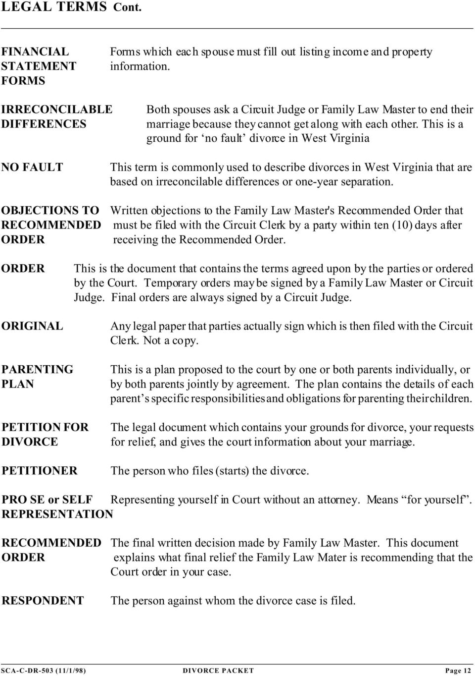 This is a ground for no fault divorce in West Virginia NO FAULT This term is commonly used to describe divorces in West Virginia that are based on irreconcilable differences or one-year separation.