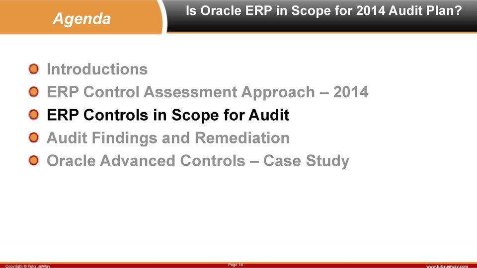 ERP Controls in Scope for Audit Audit Findings and