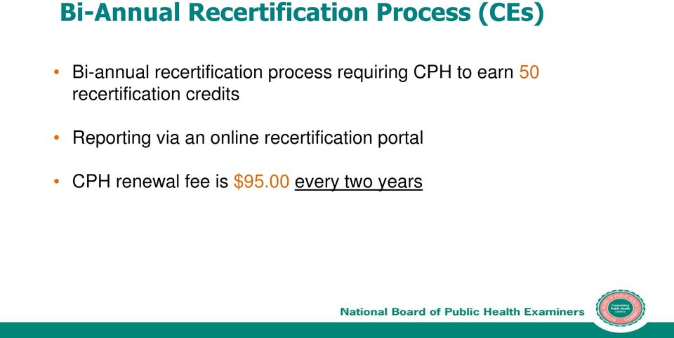 recertification credits Reporting via an online