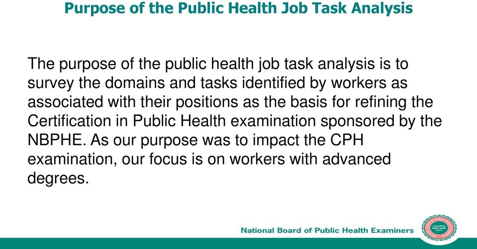 positions as the basis for refining the Certification in Public Health examination sponsored by