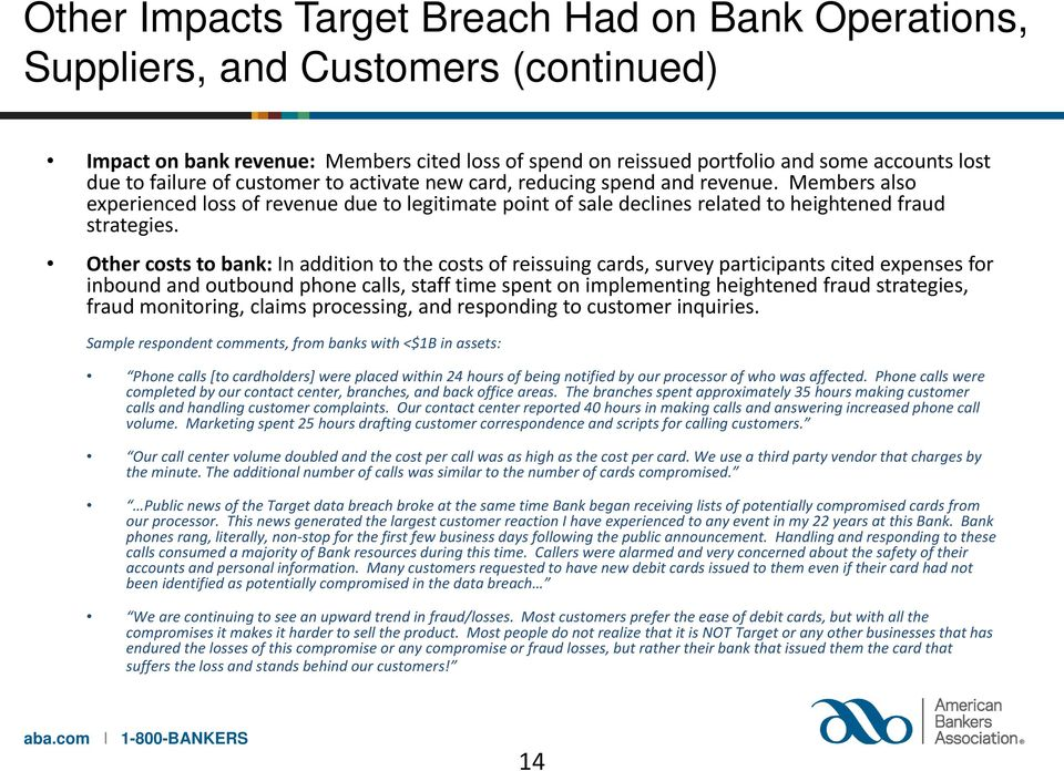 Other costs to bank: In addition to the costs of reissuing cards, survey participants cited expenses for inbound and outbound phone calls, staff time spent on implementing heightened fraud