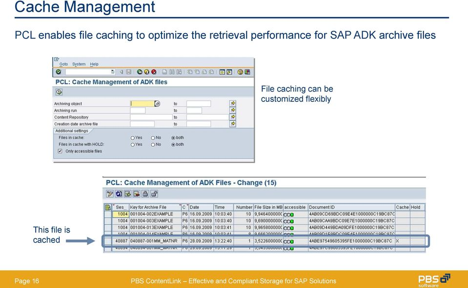 SAP ADK archive files File caching can be