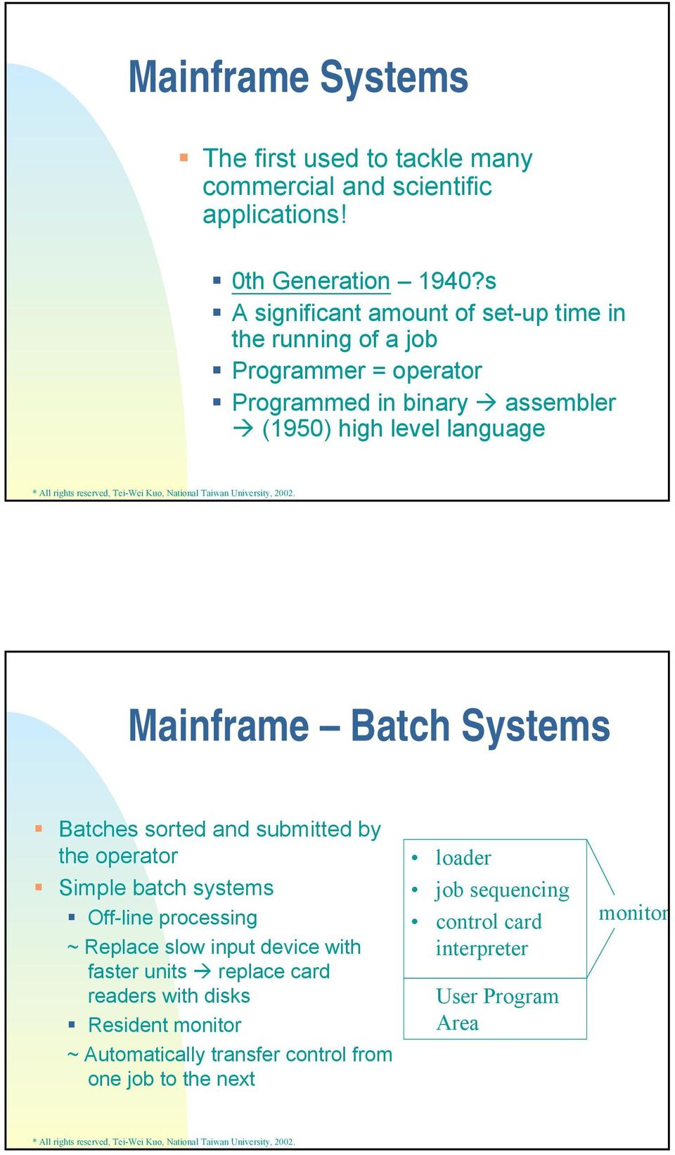 Mainframe Batch Systems Batches sorted and submitted by the operator Simple batch systems Off-line processing ~ Replace slow input device with