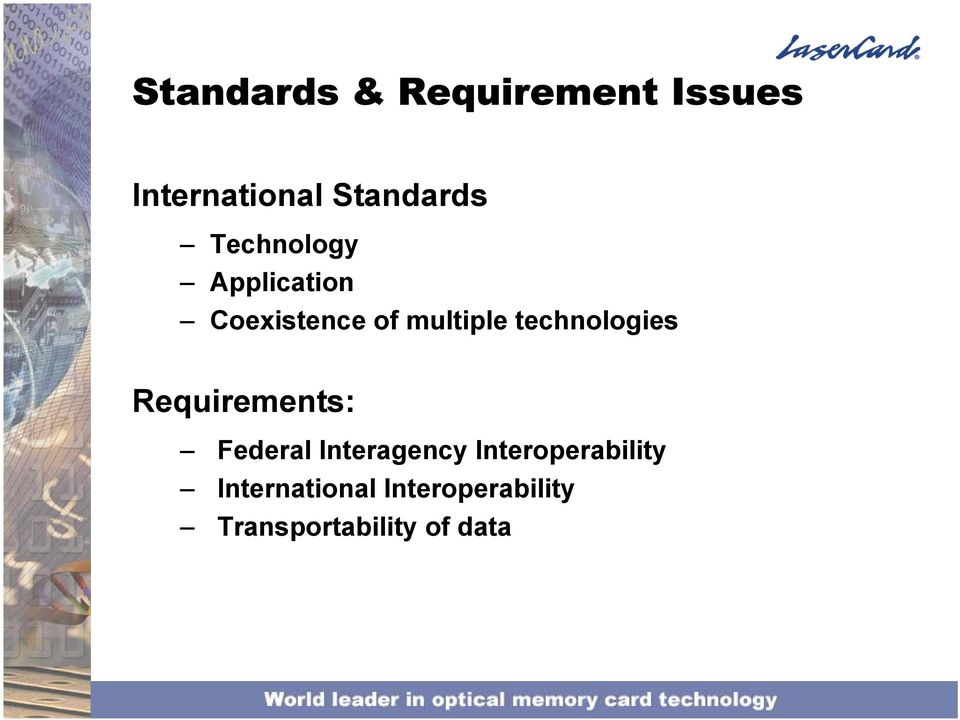 technologies Requirements: Federal Interagency
