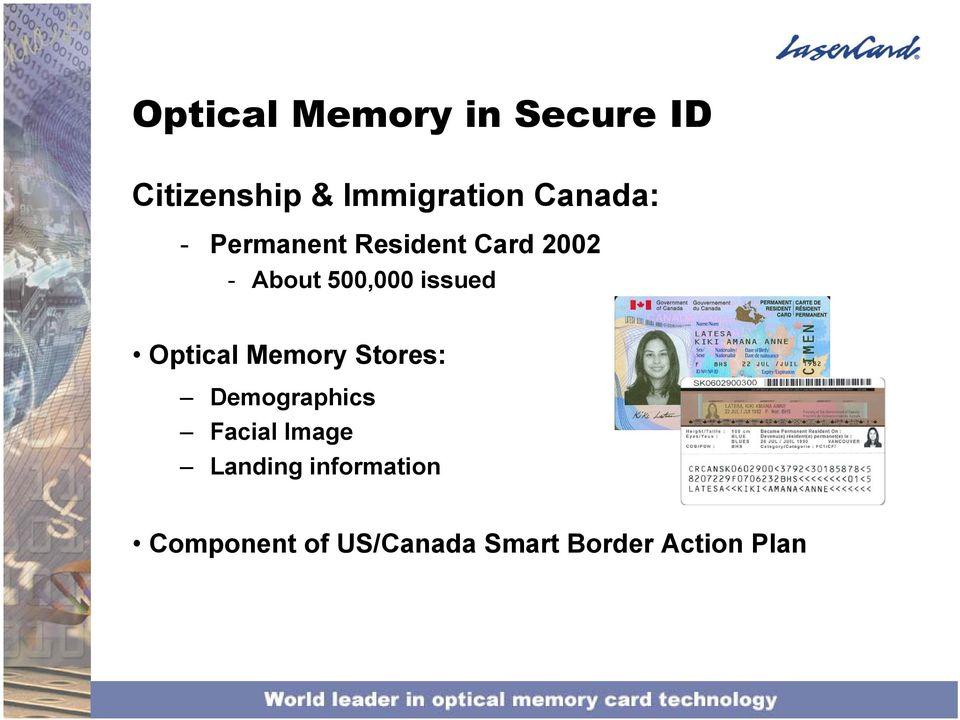 issued Optical Memory Stores: Demographics Facial Image