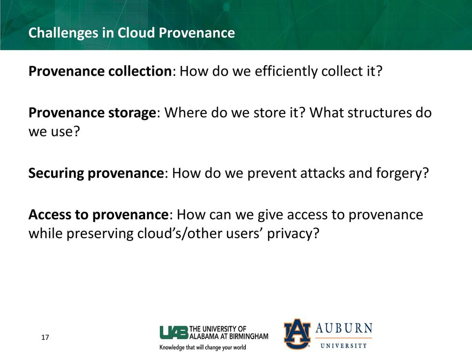 Securing provenance: How do we prevent attacks and forgery?
