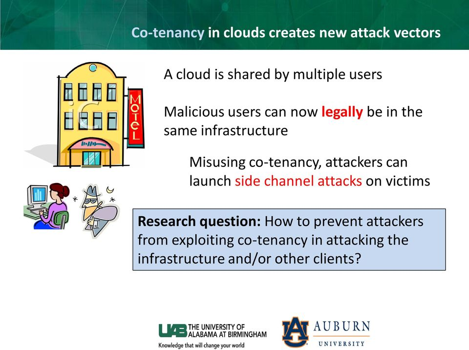 attackers can launch side channel attacks on victims Research question: How to