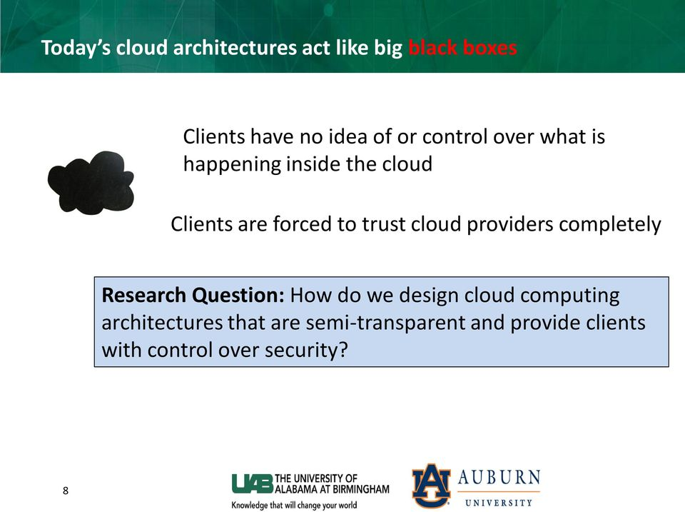 cloud providers completely Research Question: How do we design cloud computing