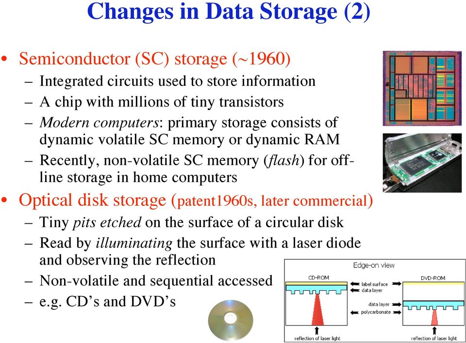 (flash) for offline storage in home computers Optical disk storage (patent1960s, later commercial) Tiny pits etched on the surface of a