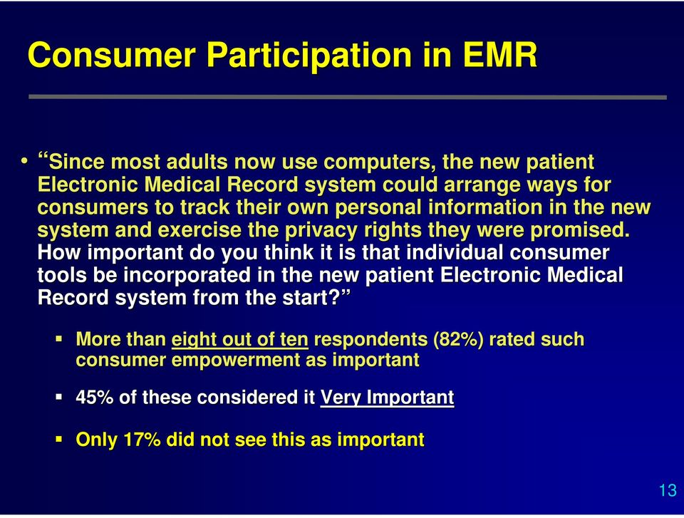 How important do you think it is that individual consumer tools be incorporated in the new patient Electronic Medical Record system from the