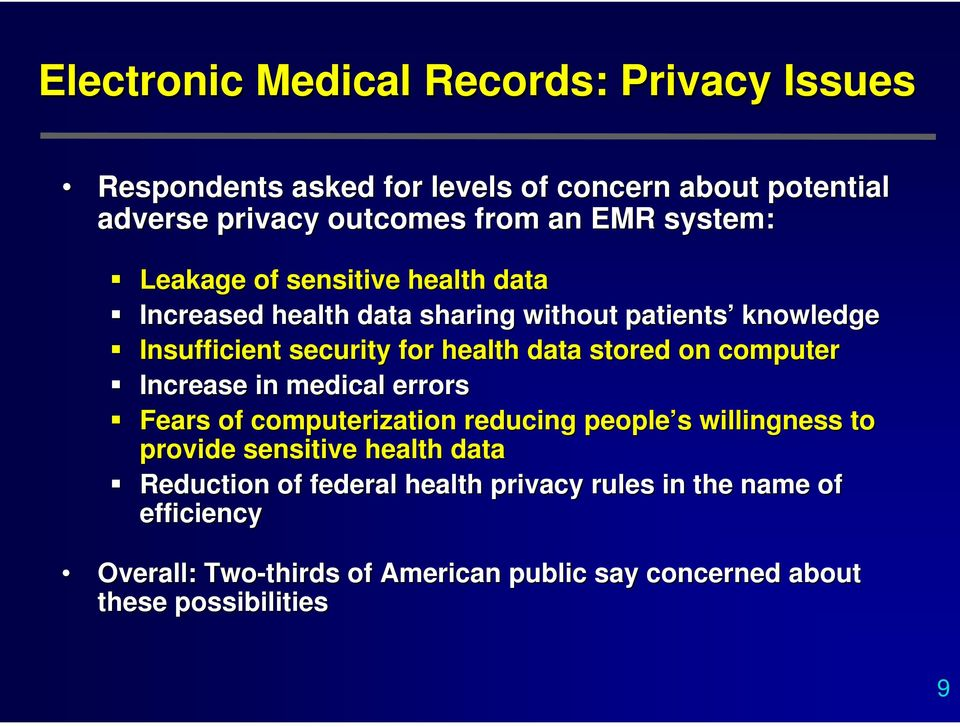 stored on computer Increase in medical errors Fears of computerization reducing people s s willingness to provide sensitive health data