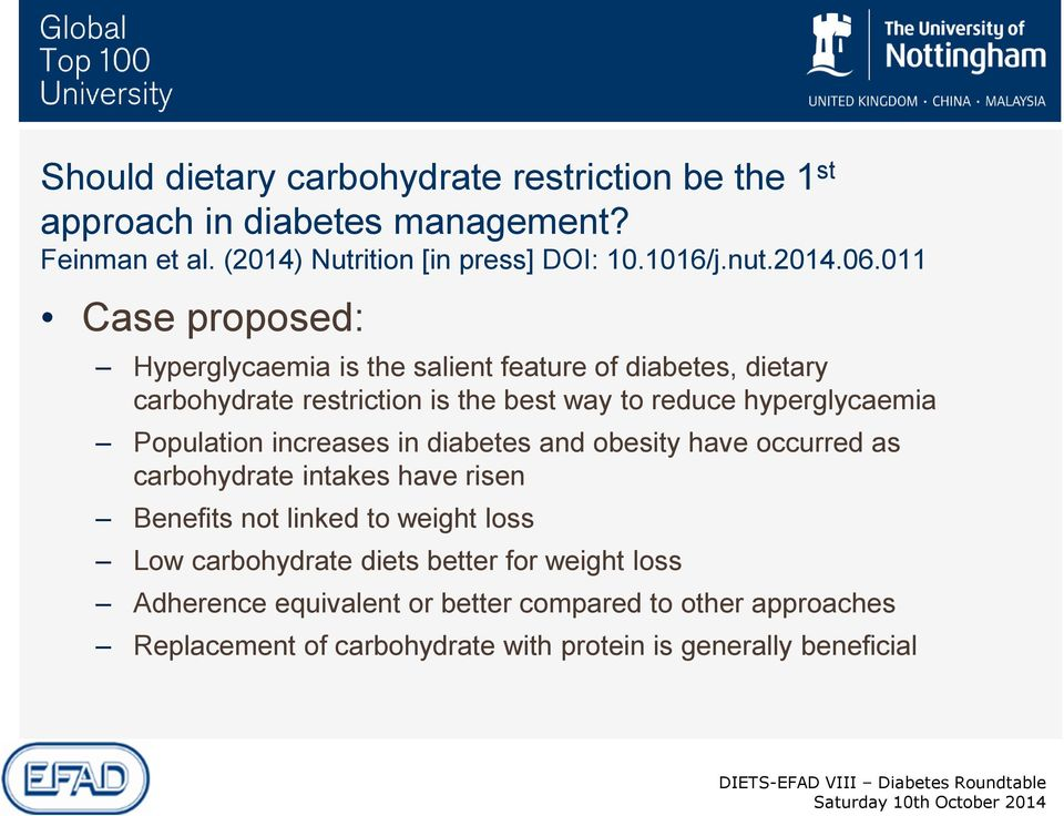 011 Case proposed: Hyperglycaemia is the salient feature of diabetes, dietary carbohydrate restriction is the best way to reduce hyperglycaemia