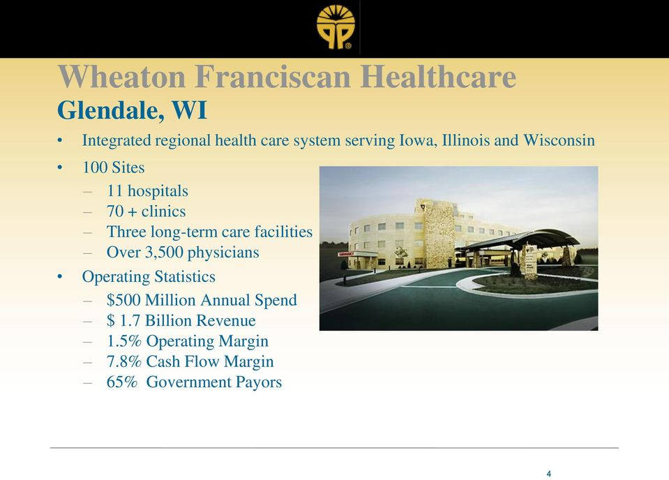 long-term care facilities Over 3,500 physicians Operating Statistics $500 Million