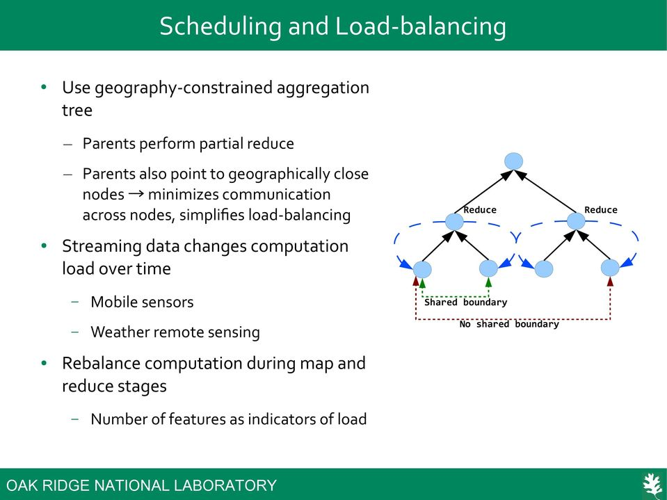 load-balancing Reduce Streaming data changes computation load over time Mobile sensors Weather remote sensing