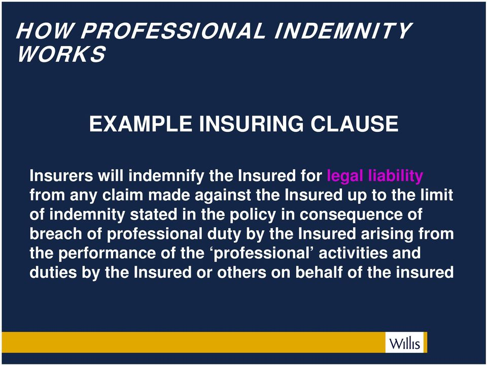 in the policy in consequence of breach of professional duty by the Insured arising from the