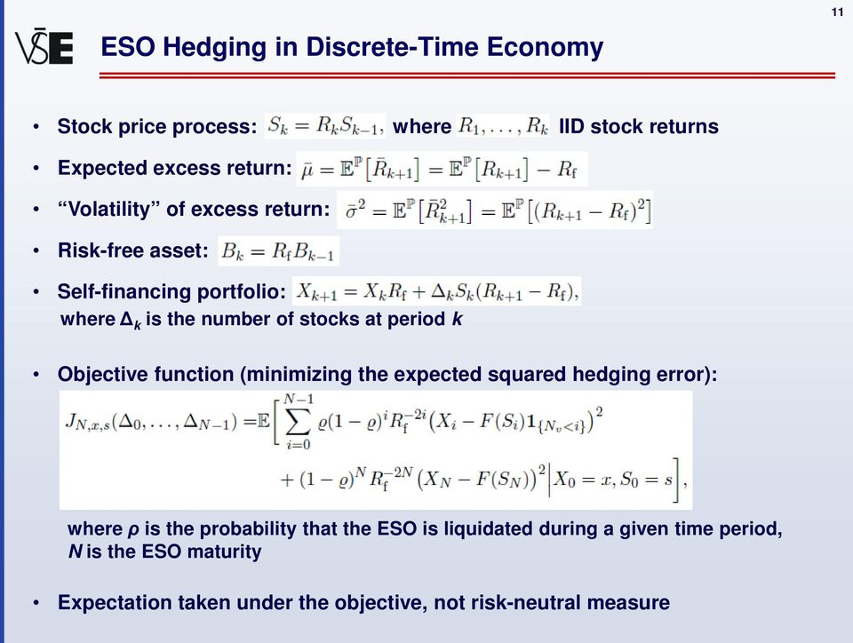 k Objective function (minimizing the expected squared hedging error): where ρ is the probability that the ESO is