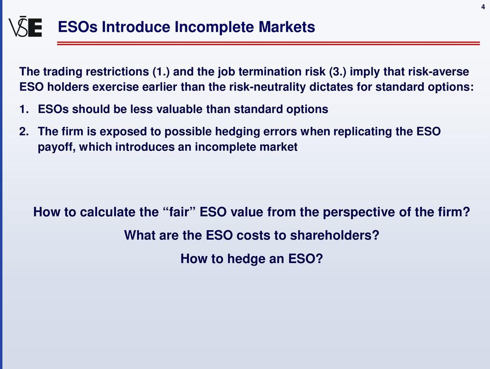 ESOs should be less valuable than standard options 2.