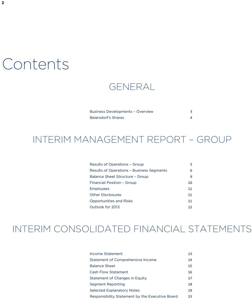 11 Outlook for 2013 12 INTERIM CONSOLIDATED FINANCIAL STATEMENTS Income Statement 13 Statement of Comprehensive Income 14 Balance Sheet 15 Cash Flow