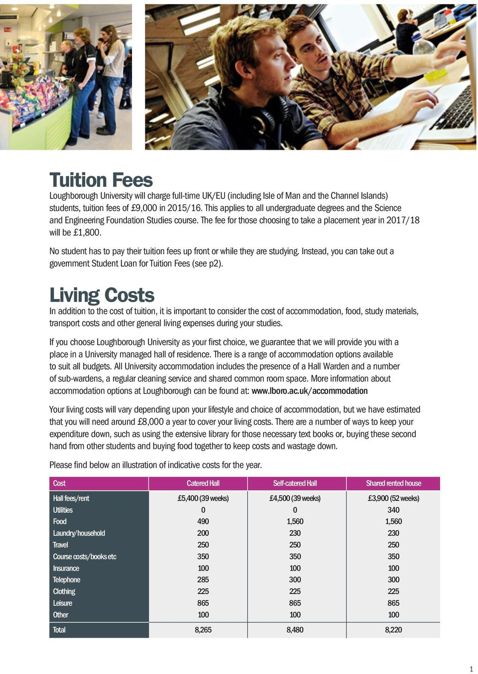 No student has to pay their tuition fees up front or while they are studying. Instead, you can take out a government Student Loan for Tuition Fees (see p2).