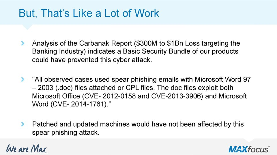 """All observed cases used spear phishing emails with Microsoft Word 97 2003 (.doc) files attached or CPL files."