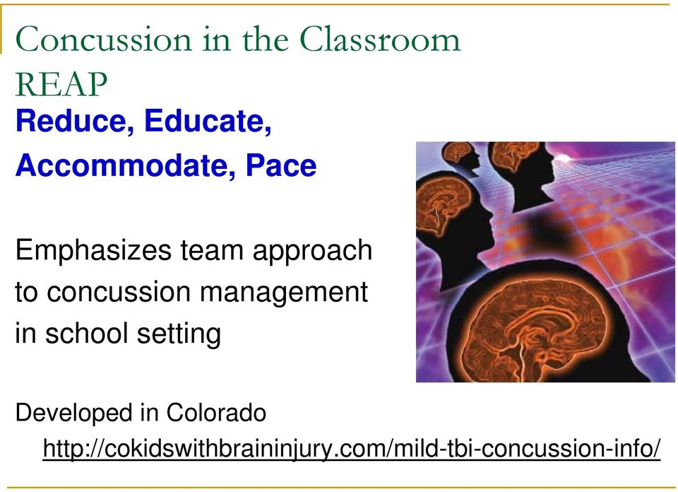 concussion management in school setting Developed in