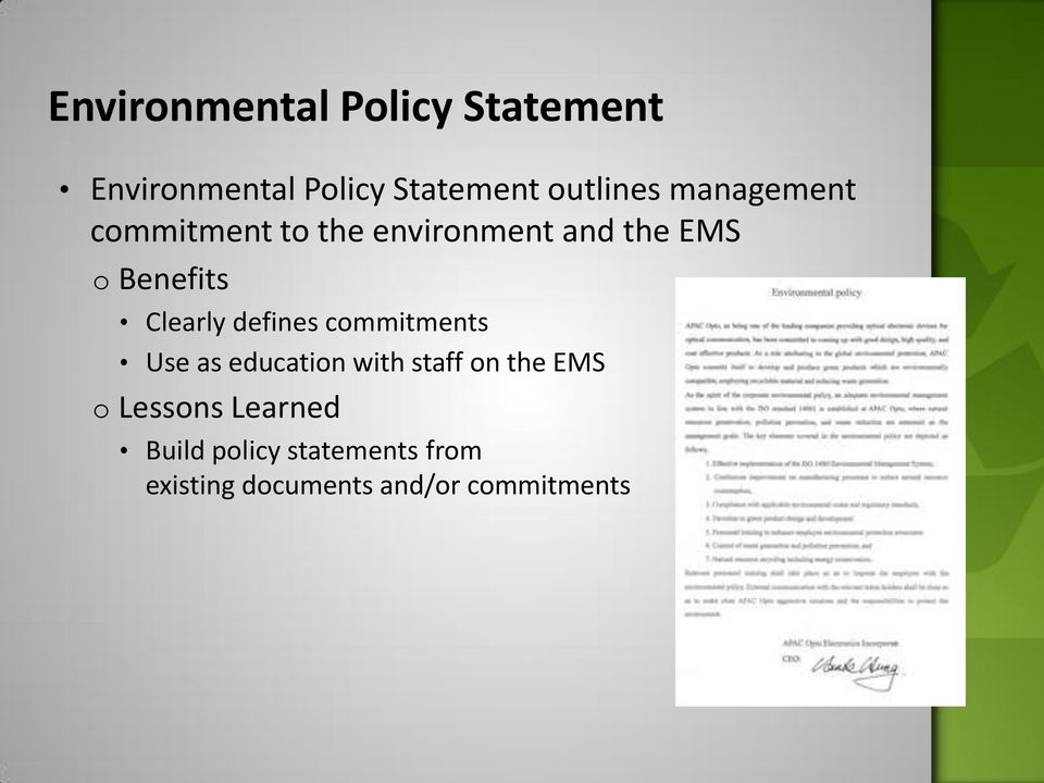 defines commitments Use as education with staff on the EMS o Lessons