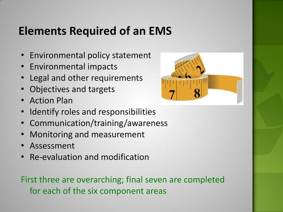Communication/training/awareness Monitoring and measurement Assessment Re-evaluation and