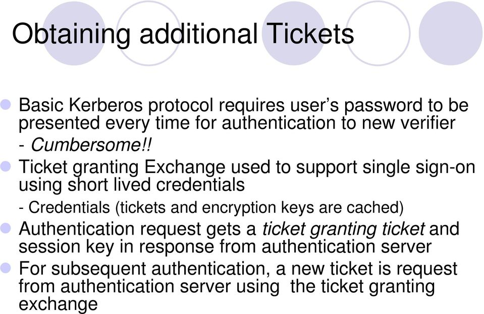 ! Ticket granting Exchange used to support single sign-on using short lived credentials - Credentials (tickets and encryption