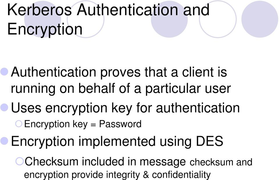 authentication Encryption key = Password Encryption implemented using DES