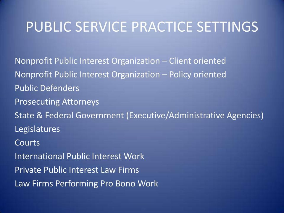 Attorneys State & Federal Government (Executive/Administrative Agencies) Legislatures