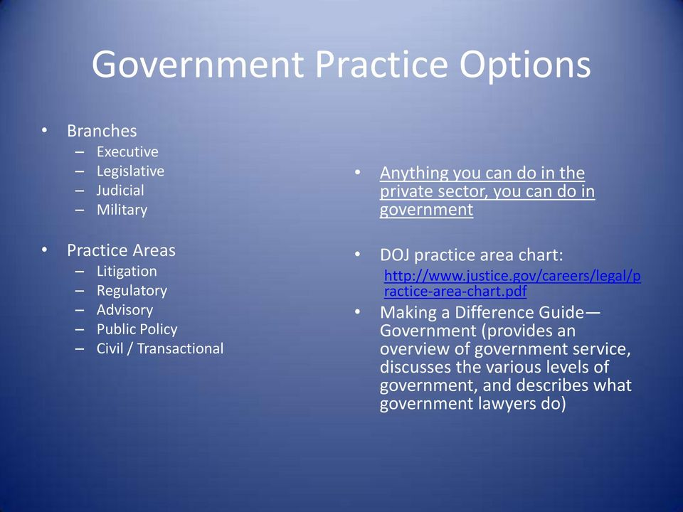 practice area chart: http://www.justice.gov/careers/legal/p ractice-area-chart.