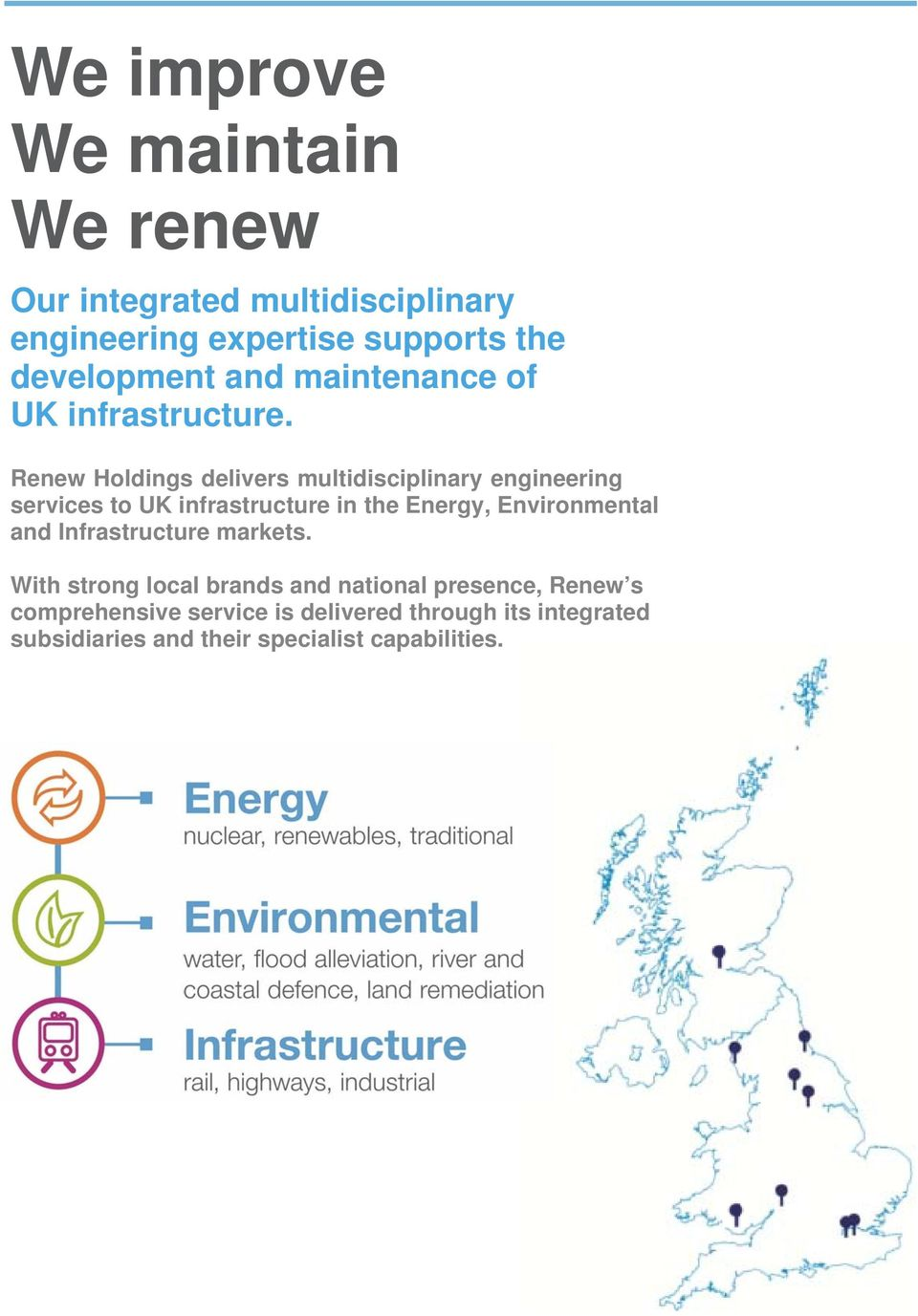 Renew Holdings delivers multidisciplinary engineering services to UK infrastructure in the Energy, Environmental