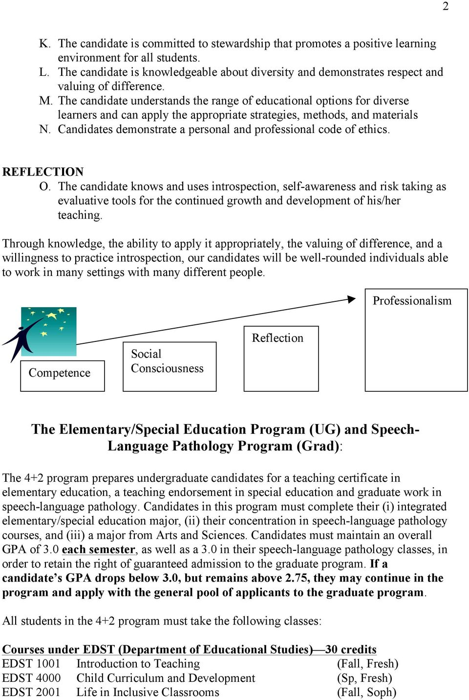 The candidate understands the range of educational options for diverse learners and can apply the appropriate strategies, methods, and materials N.