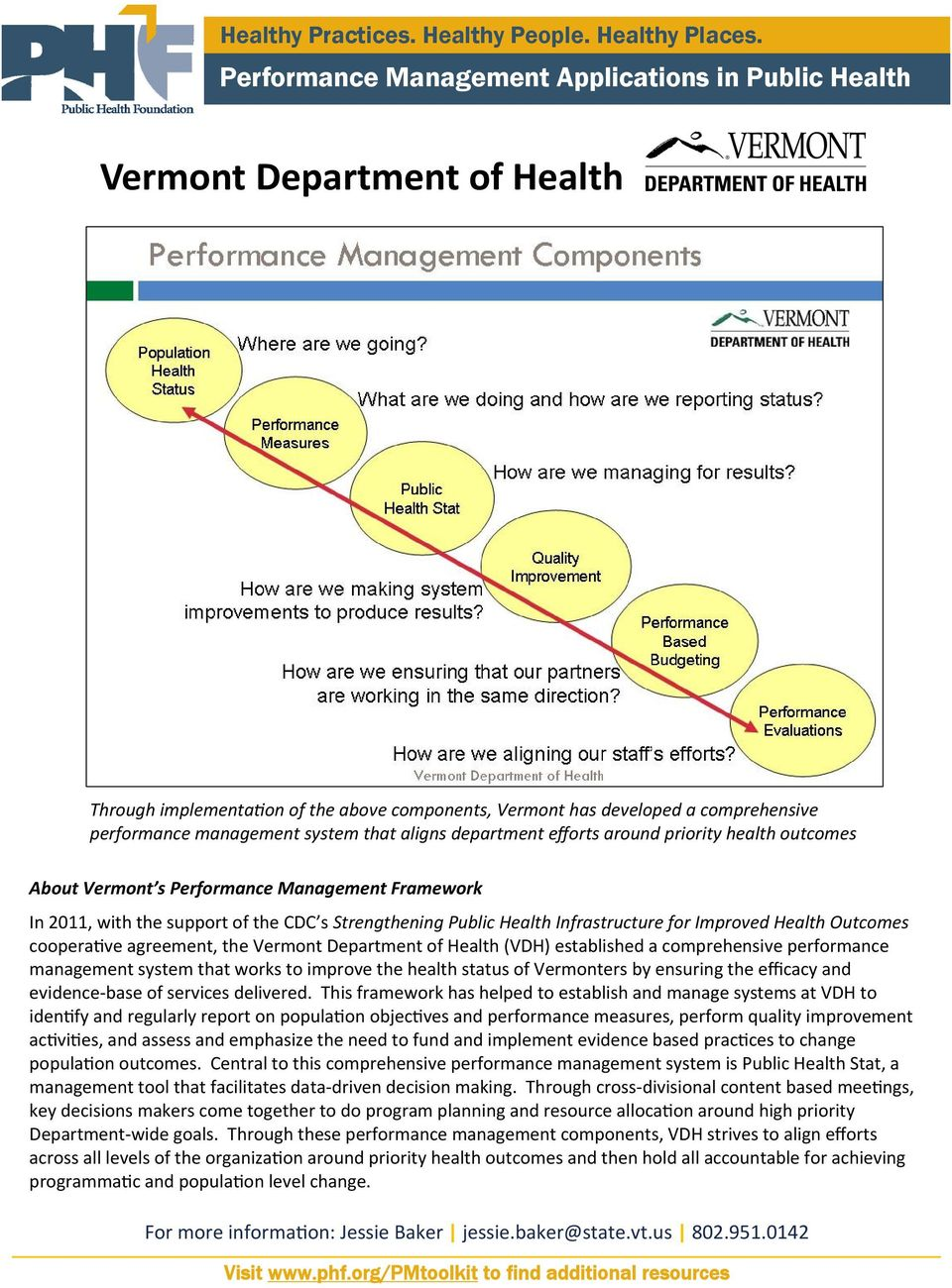 Vermont Department of Health (VDH) established a comprehensive performance management system that works to improve the health status of Vermonters by ensuring the efficacy and evidence base of