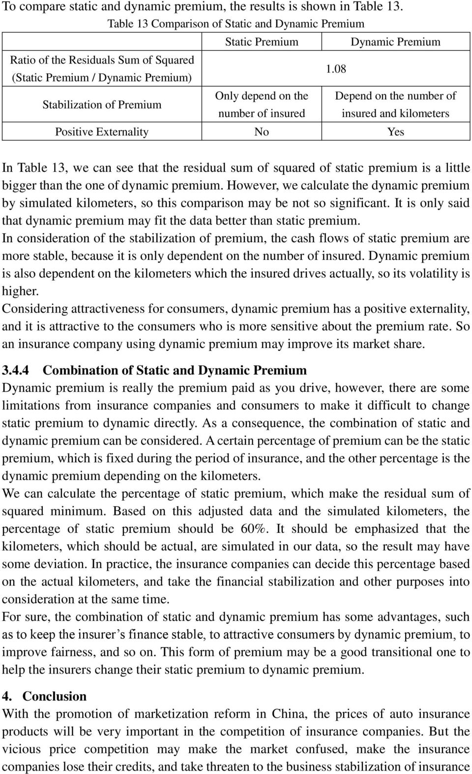 1.08 Dynamic Premium Depend on the number of insured and kilometers Positive Externality No Yes In Table 13, we can see that the residual sum of squared of static premium is a little bigger than the