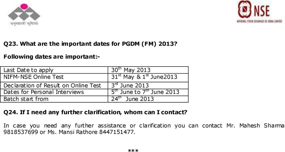 Result on Online Test 3 rd June 2013 Dates for Personal Interviews 5 th June to 7 th June 2013 Batch start from 24 th June 2013